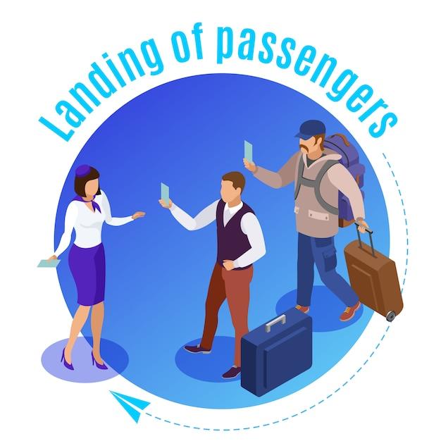 Reis mensen rond geïllustreerde luchthavenmedewerker die de landing van vliegtuigpassagiers isometrisch controleert Gratis Vector
