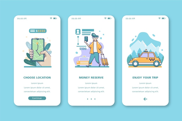 Reis met taxi mobiel interfaceontwerp Gratis Vector
