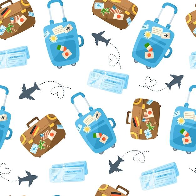 Reis naadloze patroon cartoon, reis of vakantie thema-accessoires Premium Vector