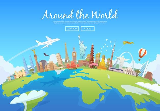 Reis naar de wereld. rondrit. toerisme. monumenten op de hele wereld. concept website sjabloon. illustratie. modern plat ontwerp. Premium Vector