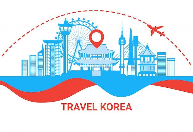 Reis naar het silhouetaffiche van zuid-korea met het beroemde koreaanse concept van de bestemmingsbestemming Premium Vector