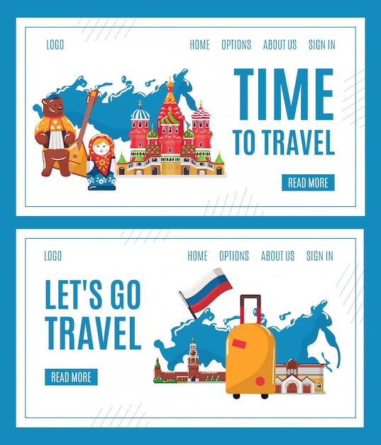 Reis naar rusland, cartoon beroemde russische bezienswaardigheid, moskou architectuur, traditionele culturele symbolen interface set Premium Vector
