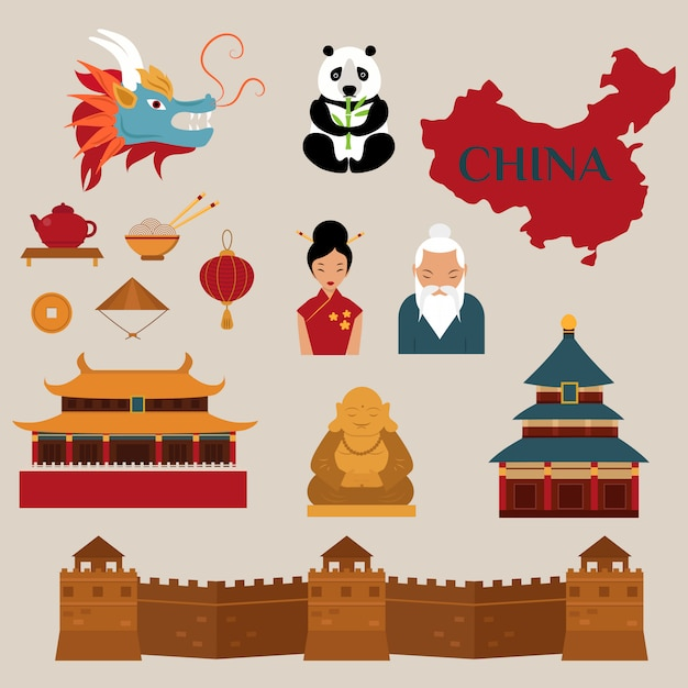 Reis naar vector de pictogrammenillustratie van china Premium Vector
