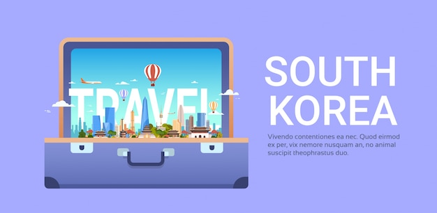 Reis naar zuid-korea met het landschap van de stad van seoel in de horizonmening van de koffer Premium Vector