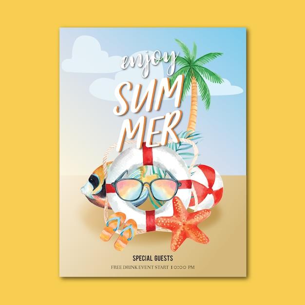 Reis op vakantie zomer het strand palm vakantie poster, zee en lucht zonlicht Gratis Vector