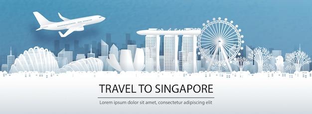 Reis reclame met reizen naar het concept van singapore met panoramamening Premium Vector