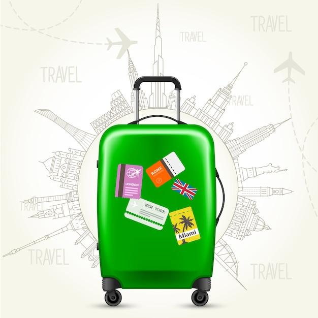 Reis rond de wereld - koffer en wereldgezichten Premium Vector