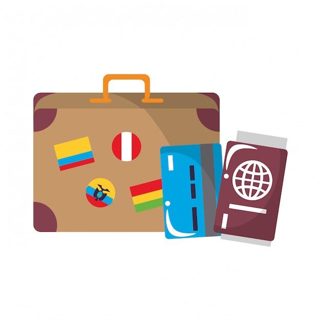Reis rond de wereld symbolen Premium Vector