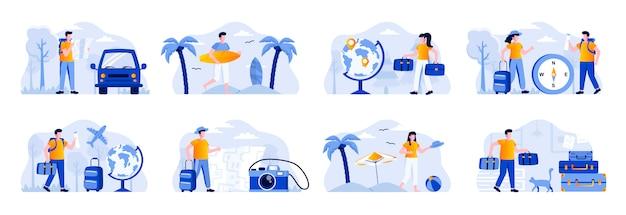 Reis vakantiescènes bundelen met personages. toeristen die met de auto of het vliegtuig reizen, paar met bagage, surfer met surfplank-situaties. zomervakantie en activiteit vlakke afbeelding Premium Vector