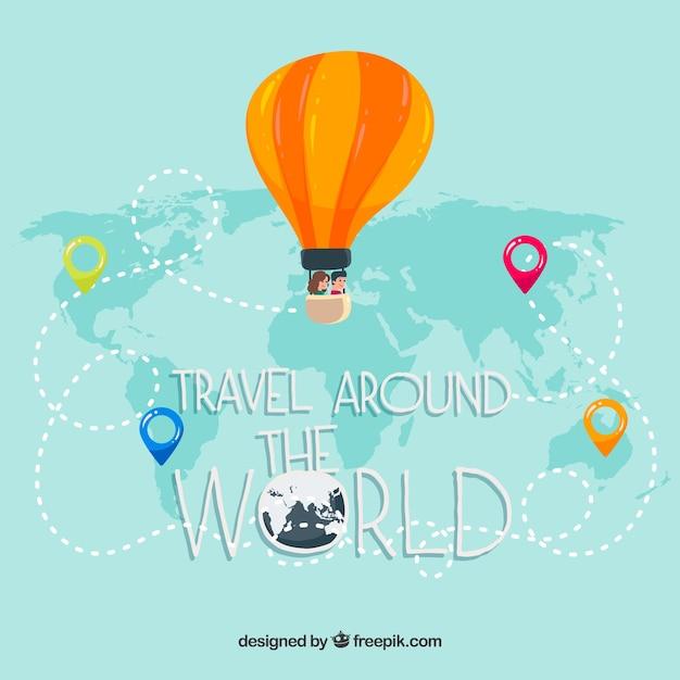 Reisachtergrond met ballon op kaart Gratis Vector