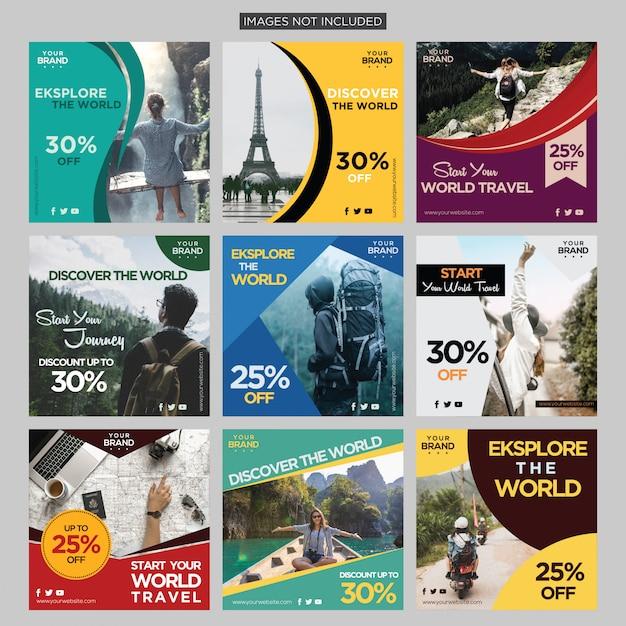 Reisavontuur sociale media bericht ontwerpsjabloon premium vector Premium Vector