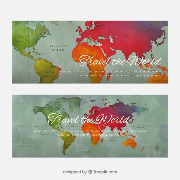 Reisbanners met kaart Gratis Vector