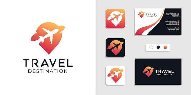Reisbestemming plaats locatie logo en sjabloon voor visitekaartjes Premium Vector