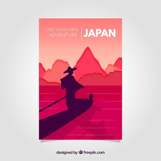 Reisbrochures met silhouetten Gratis Vector