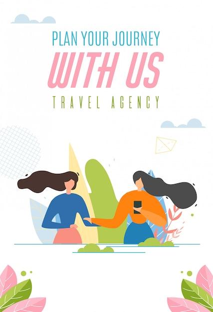 Reisbureau banner. easy journey planning. Gratis Vector