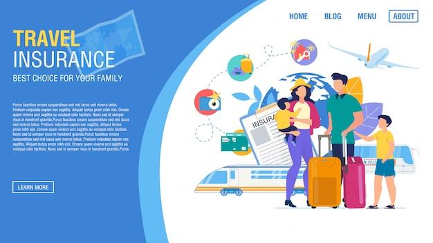 Reisbureau landingspagina aanbieding verzekeringsservice Premium Vector