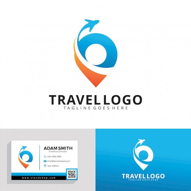Reisbureau logo sjabloon Premium Vector