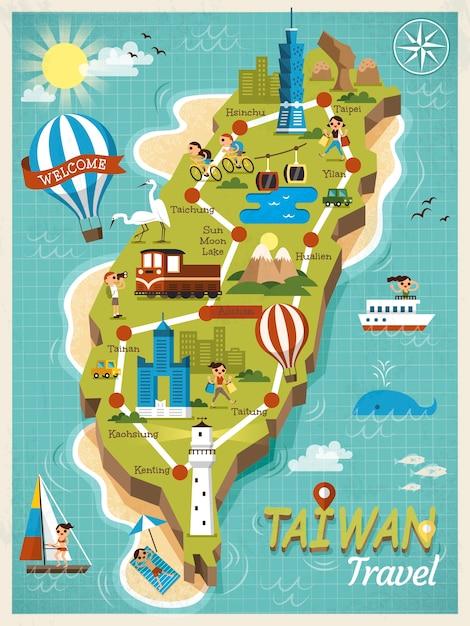 Reisconceptenkaart van taiwan, mooie oriëntatiepunten in stijl Premium Vector