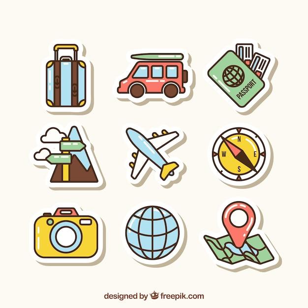 Reiselementcollectie met plat ontwerp Gratis Vector