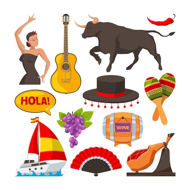 Reisfoto's van culturele objecten in spanje. cartoon stijl illustraties isoleren. spaans cultuurtoerisme, object gitaarwijn en eten Premium Vector