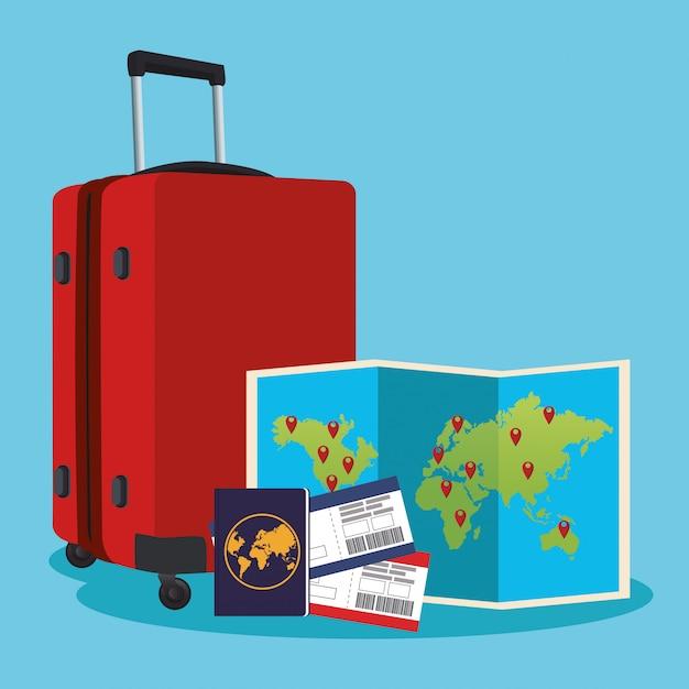 Reiskoffer met wereldkaart en paspoort en passboards Premium Vector
