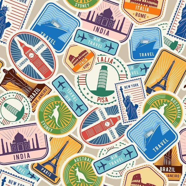 Reispatroon. immigratie stempelt stickers met historische culturele objecten die visum immigratie naadloos textielontwerp reizen Premium Vector