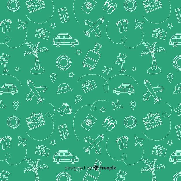 Reispatroon met elementen en streepjeslijnen Gratis Vector