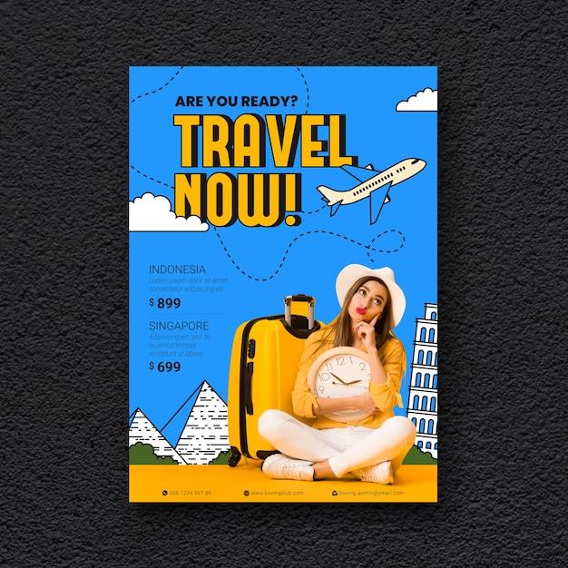 Reisposter met foto Gratis Vector