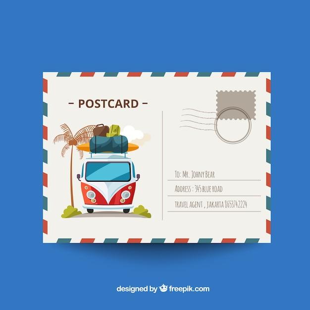 Reisprentbriefkaar in vlak ontwerp Gratis Vector