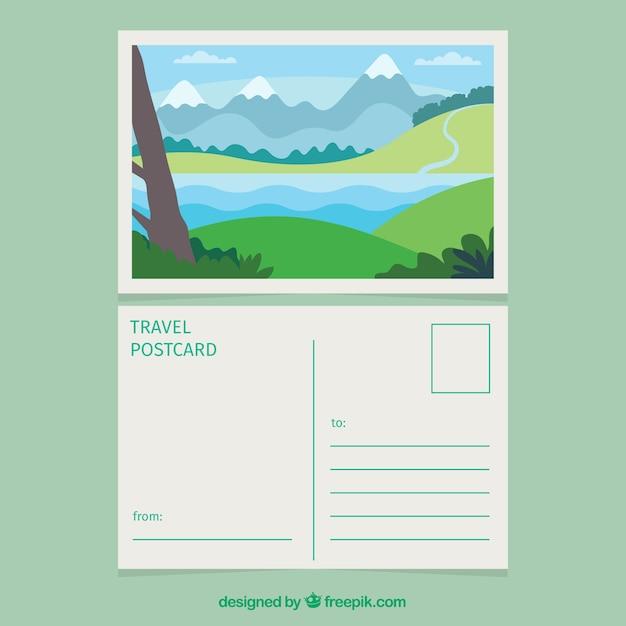 Reisprentbriefkaar met landschap Gratis Vector