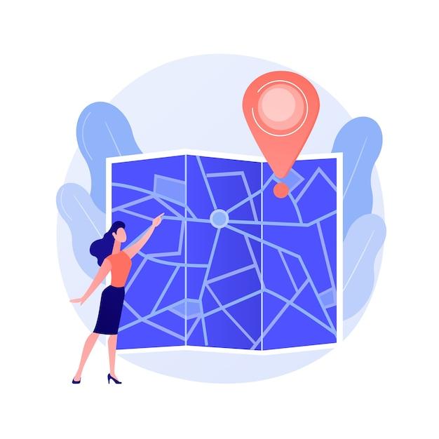 Reisroute plannen. stadsreizen, stadstoerisme, cartografie-idee. meisje navigeren met papier kaart stripfiguur. ouderwets oriëntatiegereedschap. Gratis Vector