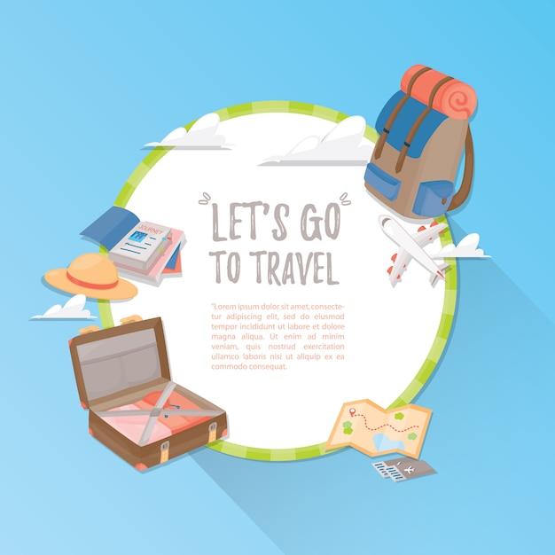 Reissjabloon. reizen en toerisme . Premium Vector