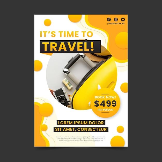 Reizen aanbiedingen poster sjabloon Gratis Vector