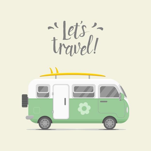 Reizen achtergrond met caravan aanhangwagen Premium Vector