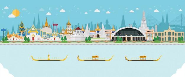 Reizen achtergrond met thaise landschap Premium Vector