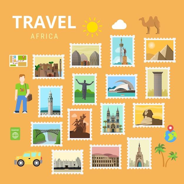 Reizen afrika egypte piramide sphinx kaart collage Gratis Vector