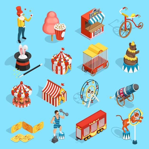 Reizen circus isometrische icons set Gratis Vector