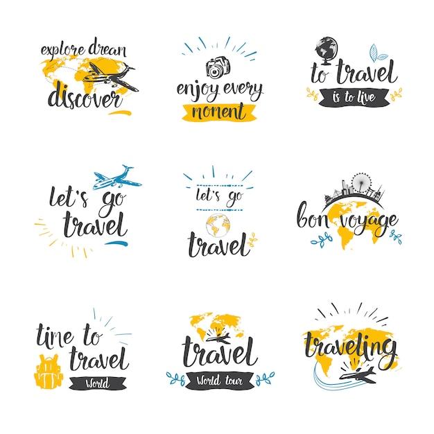 Reizen citaten icon set hand getrokken belettering toerisme en avontuur Premium Vector