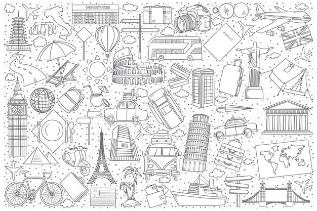 Reizen doodle set Premium Vector