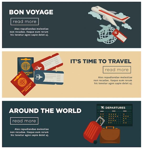 Reizen en wereld reis banners vector platte ontwerp van paspoort en reiziger bagage Premium Vector