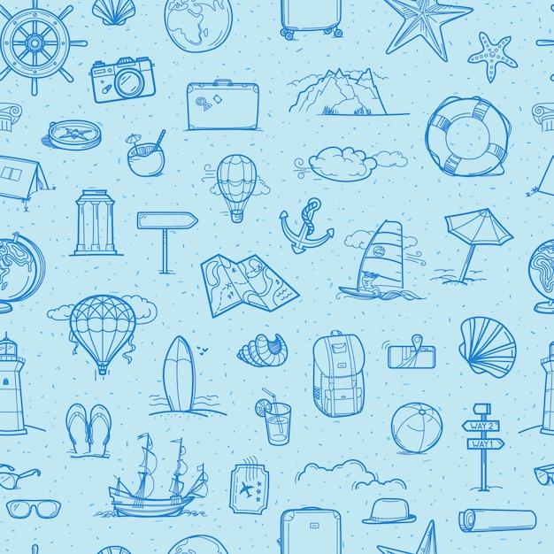 Reizen hand getrokken doodling elementen Premium Vector