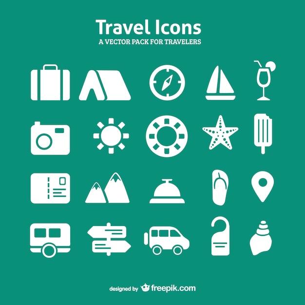 Reizen icon set vector pack Gratis Vector
