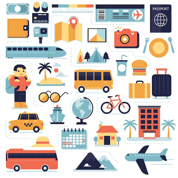 Reizen, infographic elementen instellen Premium Vector