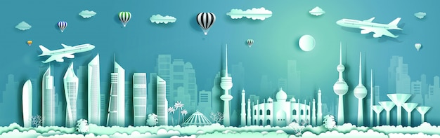 Reizen koeweit landmark met modern gebouw, skyline, wolkenkrabber per vliegtuig. Premium Vector