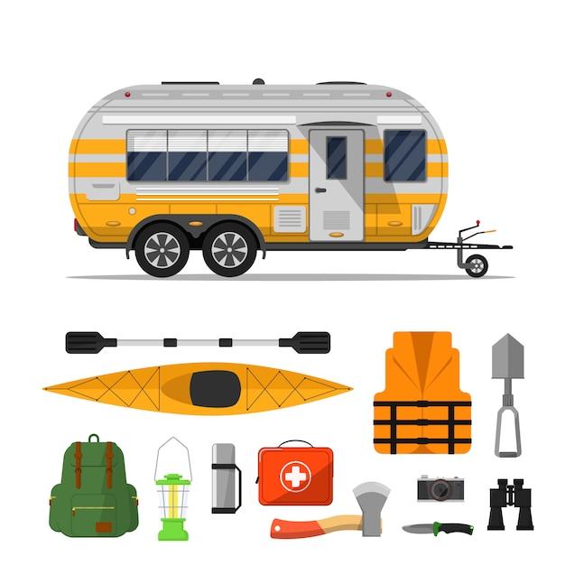 Reizen leven flyer met camping trailer Premium Vector