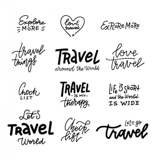 Reizen levensstijl inspiratie citaten belettering. motiverende citaat typografie. Premium Vector