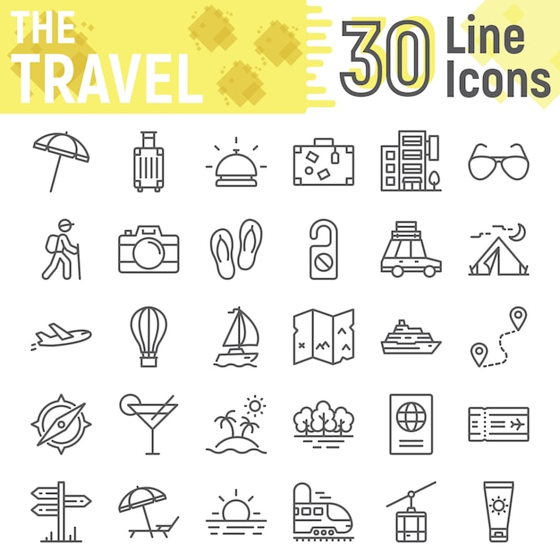 Reizen lijn icon set, toerisme symbolen collectie Premium Vector