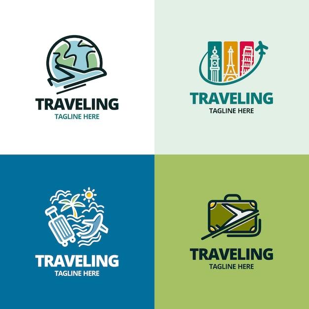 Reizen logo collectie Premium Vector