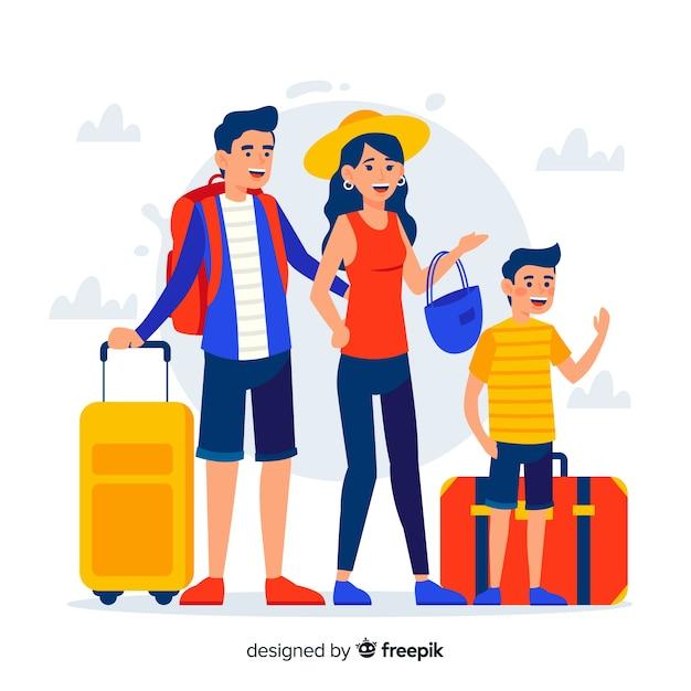 Reizen met het hele gezin Gratis Vector
