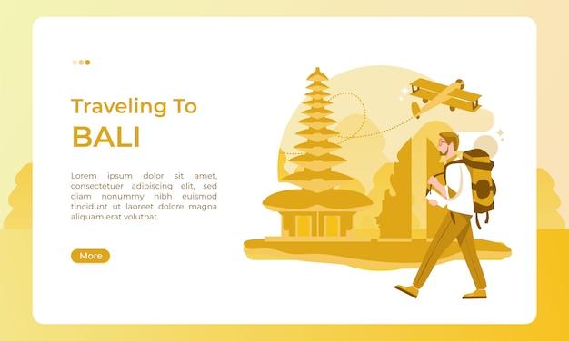 Reizen naar bali indonesië, geïllustreerd met een vakantiethema voor een toeristische dag Premium Vector